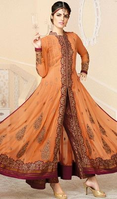 Wrap yourself with boundless compliments with this peach puff embroidered georgette pant style suit. Beautified with butta, lace, patch, resham and stones work. #AwesomeEmbroidredFlaredCutPantStyleDress