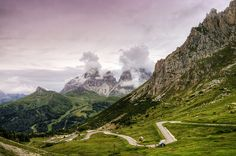 Pordoi Pass at 2239m, the highest surfaced road traversing a pass in the Dolomites, Italy (by Wolfgang Staudt).