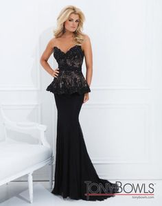 Evenings by Mon Cheri - TBE11454 Love this style dress! #peblum #laceandblack #eveningdress #eveninggown #formalwear #tonybowls11454 #tcarolyn