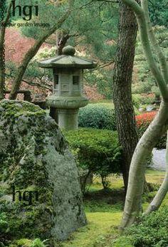 kotoji (pillar lantern) in Japanese Garden, Portland, Oregon
