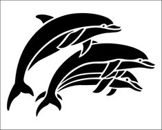 Dolphins stencil from The Stencil Library Animal Stencil, Stencil Art, Stenciling, Stencil Patterns, Stencil Designs, Plasma Cutter Art, Stencils Online, Art Folder, Cameo