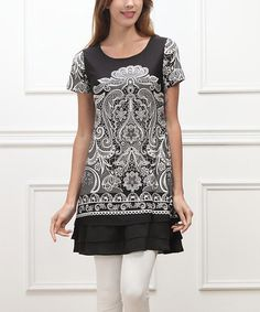 Another great find on #zulily! Black Lace Double-Ruffle Hem Tunic #zulilyfinds