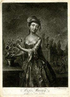 1760-1775, Portrait, three-quarter length standing plucking a rose from a plant in a pot on a table to left, with left hand, turning her head to smile towards the viewer, wearing a gown with sleeves fanning at the elbows, and a flat straw hat tilted over a white cap, in a garden with an arched arcade and a man digging behind to right; state after '& Son' erased.