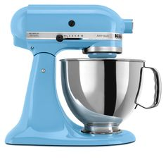 New Crystal Blue mixer from Kitchenaid. Yeah, I want this.