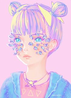 MOAR crystals by Saccstry Art And Illustration, Illustrations Posters, Kunst Inspo, Art Inspo, Art Pop, Anime Kunst, Anime Art, Kawai Japan, Character Art