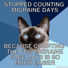 stopped counting migraine days, because counting the few migraine free days is so much easier