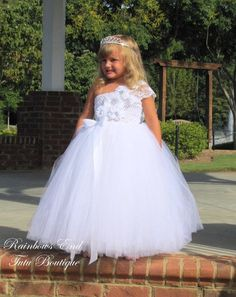 b2c3cbcf351 Elegance in White - Couture Flower Girl Tutu Dress SIZES 18-24m - girls 7