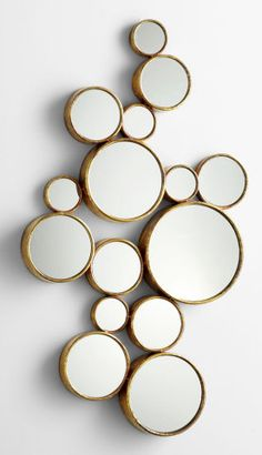 Cyan Design 05825 Bubbles Mirror Gold Home Decor Mirrors Wall Mirror Gold Home Decor, Home Decor Mirrors, Wall Mirrors, Mirror Mirror, Silver Wall Clock, Cyan, Nautical Wall Decor, Circular Mirror, Gold Models