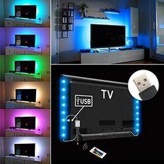 LED-TV-Hintergrundbeleuchtung IREGRO LED Streifen 2* 50 CM 16 Farben RGB Flachbildschirm-TV-Zubehör für HDTV Gaming PC Desktop-PC