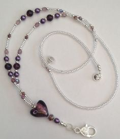 PURPLE GLASS HEART,Beaded Lanyard,Magnetic Clasp, ID Pass Holder,Lanyard,Gift,