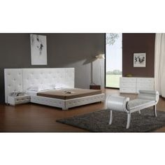 Melody Modern White Leather Queen Platform Bed -