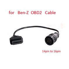 For Mercedes Benz MB OBD Connect 14 Pin Male to OBD2 OBDII DLC 16 Pin 16pin Female Connection Adapter Cables Diagnostic cable #Affiliate