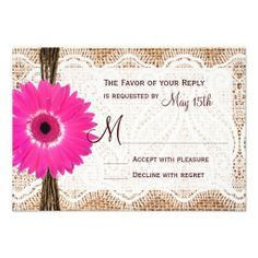 Rustic Country Burlap Lace Print Hot Pink Gerber Daisy Wedding RSVP Cards