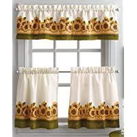 Shopping Cart Yellow Kitchen Curtains, Kitchen Curtains And Valances, Small Window Curtains, Kitchen Curtain Sets, Sunflower Kitchen Decor, Sunflower Garden, Sweet Home Collection, Garden Windows, Luxury Homes