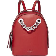 Fiorelli Anouk Small Backpack (305 MYR) ❤ liked on Polyvore featuring bags, backpacks, pillarbox red, day pack backpack, vegan leather backpack, chain backpack, fiorelli and red backpack