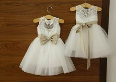 Lace Flower Girl Dress Ivory Short Flower Girl by 7thprincess, $77.00