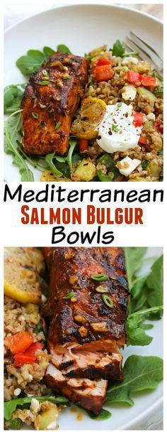 Healthy Mediterranean Salmon Bulgur Bowls | dishingouthealth.com