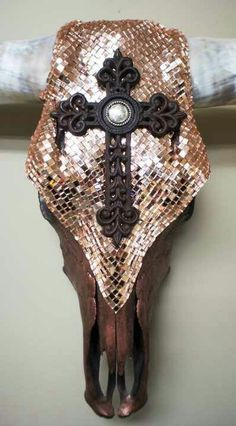 Copper mirror and cross longhorn made by Desiree Rodgers on facebook at WesTique Desi-gn