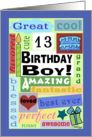 Happy Birthday for 13 year old boy-Good Word Subway Art