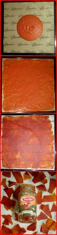 tomato sauce leather... brilliant. Add water and have spaghetti in the woods