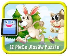 Bunny & Cat Racing - 12 Piece Online jigsaw puzzle for kids