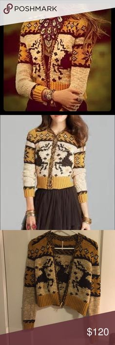 Rudolph reindeer free people sweater PRODUCT DETAILS Hit the slopes--or hang by the bonfire--in a Free People zip cardigan, bedecked après-ski intarsia and charming reindeer motifs.  EUC. Acrylic/wool/alpaca/polyester/cotton Hand wash Imported Crewneck, long sleeves, zip front closure Free People Sweaters Cardigans