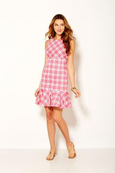 Sara Campbell chemise flounce in pink lattice print stretch cotton sateen