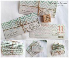 Handmade Wedding Cards Malaysia by CraftyFarms: Tiffany Blue and Chevron Boarding Pass Handmade Invitation