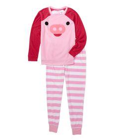 MJC USA Pink Sachet Piggie 3-D Critter Pajama Set - Juniors by MJC USA #zulily #zulilyfinds