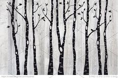 Birch tree silhouettes, EPS, SVG by Illustree on Creative Market Birch tree silhouettes, EPS, SVG by Maple Tree Tattoos, Pine Tree Tattoo, Hanging Christmas Tree, Little Christmas Trees, Birch Tree Mural, Tree Stencil, Tree Wedding Invitations, Black And White Tree, Tree Artwork