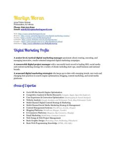 marketing resume visual presentation of marketing experience in the