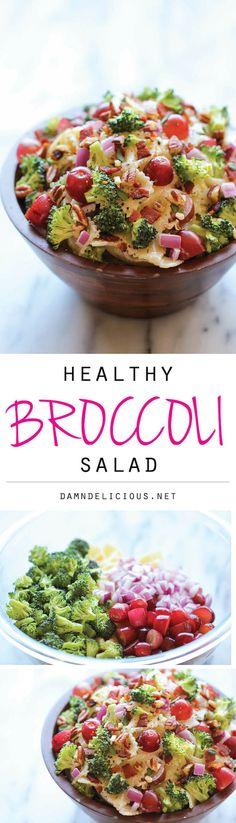 Broccoli Salad:     8 ounces farfalle pasta; 6 slices bacon, diced; 1 head broccoli, cut into florets and finely chopped; 2 cups seedless red grapes, halved; 1/3 cup diced red onion; 1/4 cup chopped pecans; For the dressing: 1/2 cup plain Greek yogurt; 1/2 cup mayonnaise; 1/3 cup red wine vinegar; 1 tablespoon sugar; 1/2 teaspoon dried thyme; Kosher salt and freshly ground black pepper, to taste