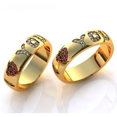 Aliança  Love You com Diamantes e Rubis