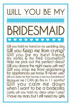 Will You Be My Bridesmaid?  invitations
