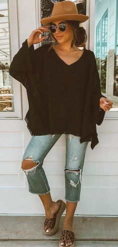 Fantastic Summer Outfits To Wear ASAP – Casual Outfit – Casual Summer Outfits All Jeans, Blue Ripped Jeans, Spring Summer Fashion, Spring Outfits, Autumn Fashion, Boho Summer Outfits, Fashion Black, Summer Wear, Style Fashion