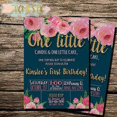 Hey friend! Thanks a bunch for your interest in my Navy Blue & Blush Floral First Birthday Invitations. I truly hope it's exactly what you wanted! This elegant gold glitter... #flowers #invitation