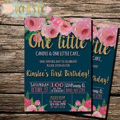 Navy Blue & Blush Floral First Birthday Invitation | Girls First Birthday Invitation | Floral Theme Birthday | One Year Old Birthday Invite