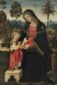 Pinturicchio. Virgin Teaching the Christ Child to Read. Oil and gold on panel, 1494-98, Philadelphia Museum of Art, Philadelphia