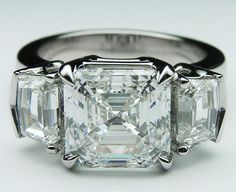Large Asscher Cut Diamond Engagement Ring setting Cadillac Step cut Side Stones in 14K White Gold