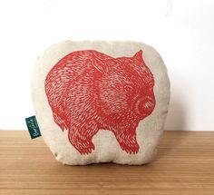 Organic wombat pillow // childs cushion // decorative wombat cushion // Australian animal softie // organic softie