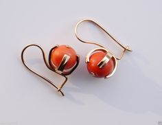 Antique Vintage Earrings Red Coral 14k Rose Gold