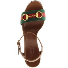 Gucci Horsebit Sandals Brown in brown, Sandals ($390) ❤ liked on Polyvore featuring shoes, sandals, gucci, cap toe shoes, gucci shoes, chunky heel shoes and leather sandals