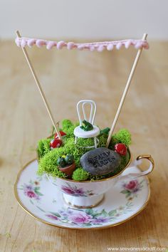 Teacup Fairy Garden Chair bottle cap and wire Tea cup at Good Will or antique shop