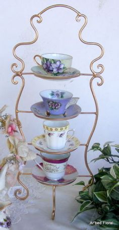 teacup stand display   IRON Tea Cup Saucer Display Stand 4 Tiered Gold Holder For Sale