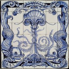"Portuguese style ""azulejos"" mural installed in a bathroom in California.  Hand painted commercial 4.25"" square ceramic tile."