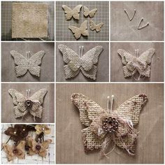 How to Make Beautiful Burlap Butterflies thumbDIY Burlap Butterfly Ornaments, Magnets, Etc.Almost every one of us is familiar with term burlap. Burlap is basically a woven fabric usually made from the skin of jute plant or sisal fibers. Upcycled Crafts, Burlap Crafts, Fabric Crafts, Diy And Crafts, Paper Crafts, Recycled Art, Burlap Fabric, Burlap Lace, Hessian