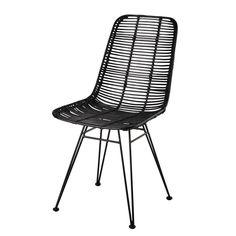 Chaise en rotin et métal noire - Pitaya