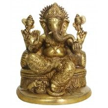 Brass Ganesh Statue on a Throne with a Bolster