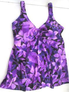 9f3f621333 New NWOT Roaman's Plus Size 22W 3x Swimsuit Swim Dress Purple Black Floral  #Roamans #Swimdress