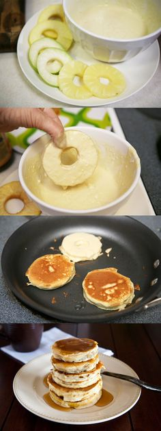 Looking to sneak some fruit into the kids' (or let's be honest, the spouse's) breakfast? It's so easy! Just dunk fruit rings—try apples, pears or pineapple—in a Bisquick pancake coating, then cook like regular pancakes! Click through for the recipe and step-by-step photos.